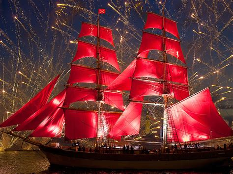 Ship With Red Sails Fireworks Celebration In St