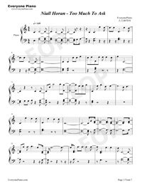 Too Much To Ask-Niall Horan Free Piano Sheet Music & Piano