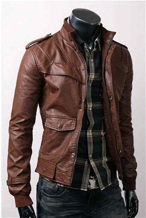 Mens Slim Fit Hand Made Korean Style brown Leather Jacket