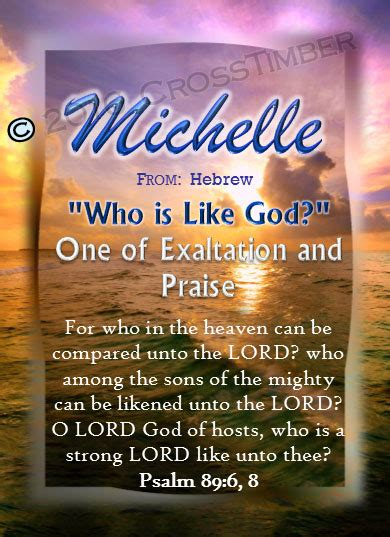 What does the name michele mean in the bible