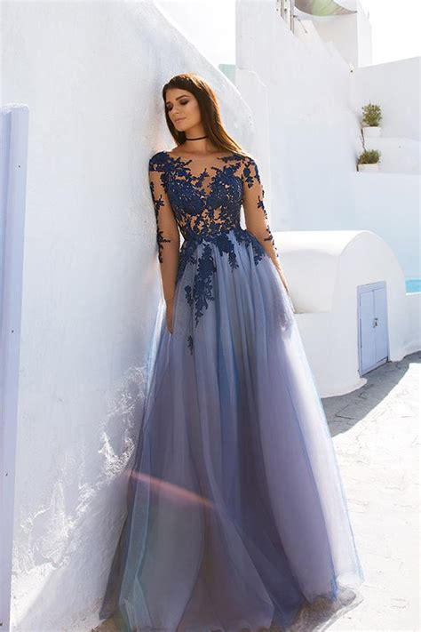 Blue Lace Long Sleeve Open Back See Through Long Evening