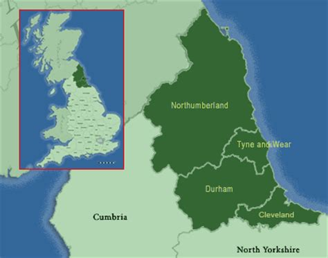 Map of North East England