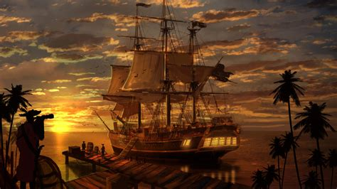 Pirate Ships Sunset reflection Fantasy Art pictures for