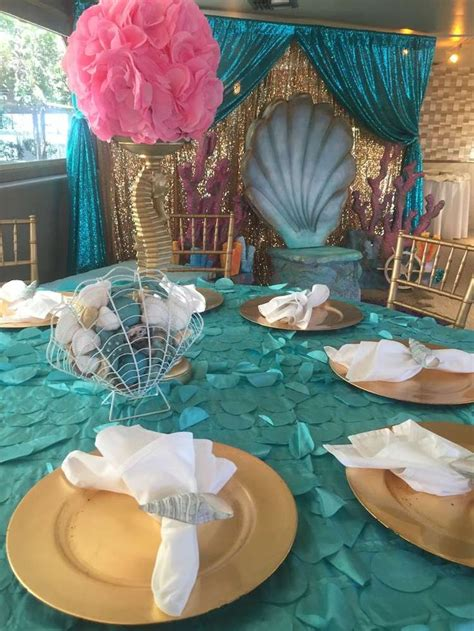 Mermaid theme baby shower for baby Bella | CatchMyParty