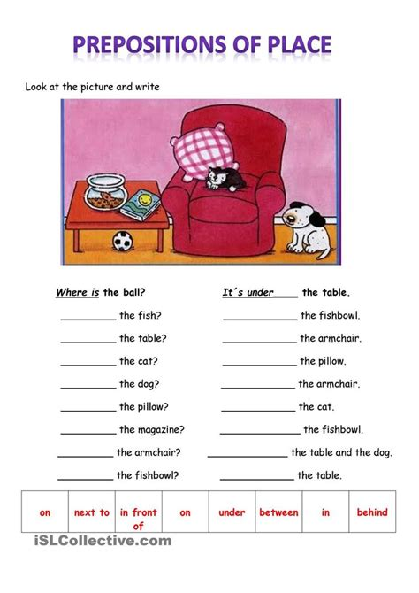 Prepositions of place | 1º ESO | Pinterest | Worksheets