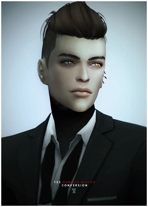 Sims 4 Hairs ~ Black-le: NewSea`s MACHO hairstyle converted