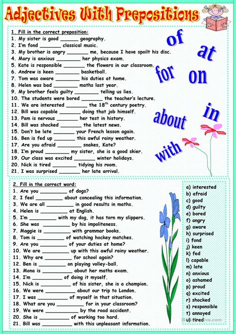 Adjectives with prepositions worksheet - Free ESL