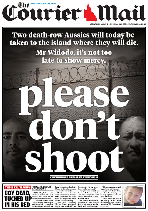 Front page of the Courier Mail, addressed to the President